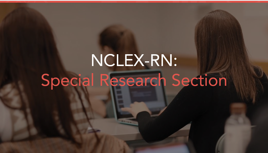 Students at computers simulate participating in Special Research Section on NCLEX testing Next Generation item types